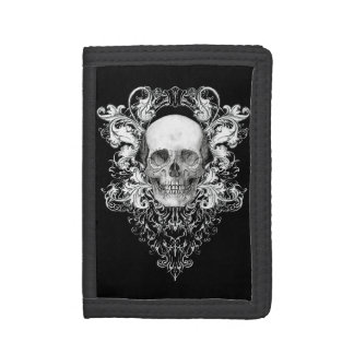 Ornate Skull tri fold wallet