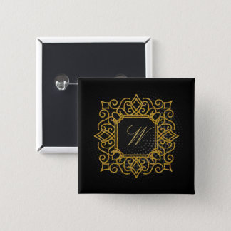 Ornate Square Monogram on Black Circular 15 Cm Square Badge