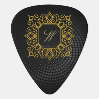 Ornate Square Monogram on Black Circular Guitar Pick