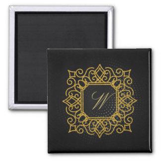 Ornate Square Monogram on Black Circular Magnet