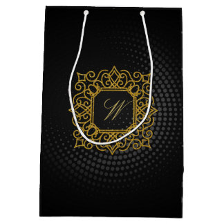 Ornate Square Monogram on Black Circular Medium Gift Bag