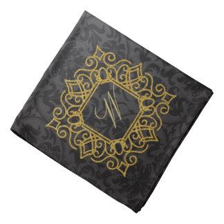 Ornate Square Monogram on Black Damask Bandana