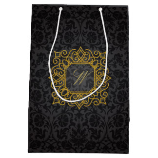 Ornate Square Monogram on Black Damask Medium Gift Bag
