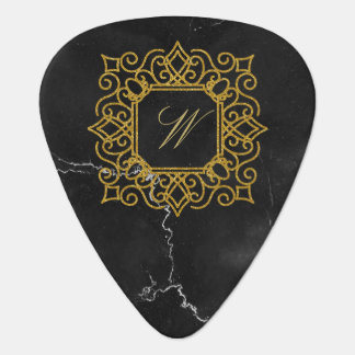 Ornate Square Monogram on Black Marble Plectrum