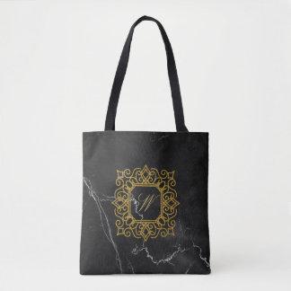 Ornate Square Monogram on Black Marble Tote Bag