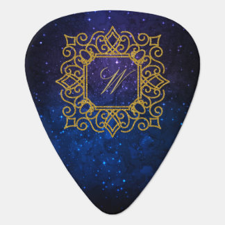 Ornate Square Monogram on Blue Galaxy Plectrum
