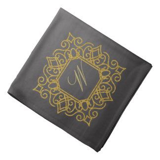 Ornate Square Monogram on Chalkboard Bandana