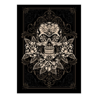 Ornate Sugar Skull Poster