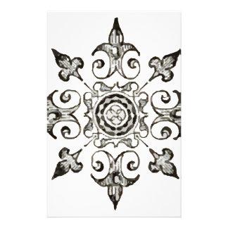 Ornate Symbol Black and White Customized Stationery