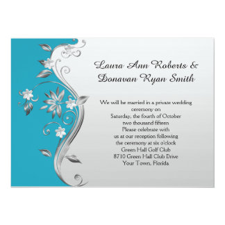 Ornate Teal Blue and Silver Floral Reception Only Card