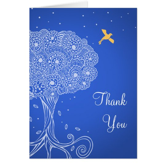 Ornate Tree of Life Blue Bat Mitzvah Thank You Card