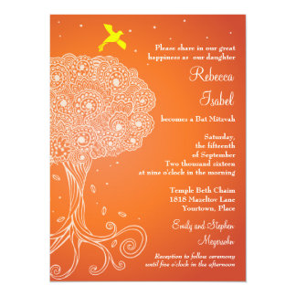 Ornate Tree of Life Orange Bat Mitzvah 14 Cm X 19 Cm Invitation Card