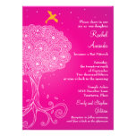 Ornate Tree of Life Pink Bat Mitzvah Personalised Announcements