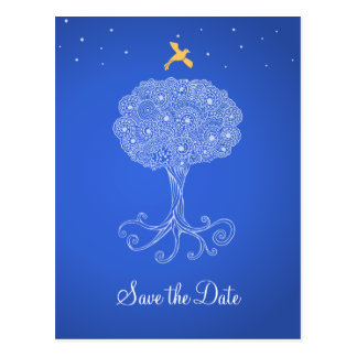 Ornate Tree of Life Princess Blue Save the Date Postcard