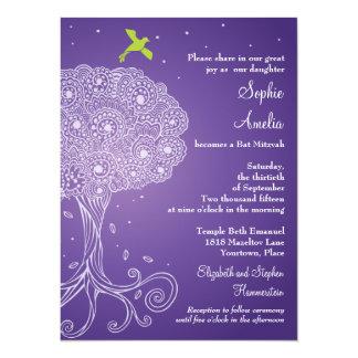 Ornate Tree of Life Purple Bat Mitzvah 14 Cm X 19 Cm Invitation Card