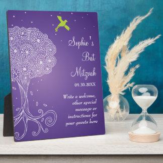 Ornate Tree of Life Purple Bat Mitzvah Display Plaques