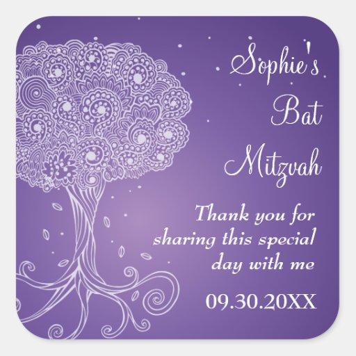 Ornate Tree of Life Purple Bat Mitzvah Square Sticker