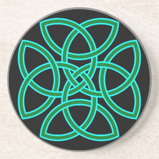 Ornate Triquetra Cross in Sage Bright Green Drink Coaster