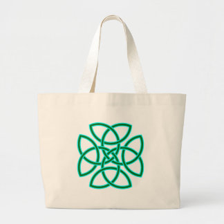 Ornate Triquetra Cross in Sage Bright Green Large Tote Bag