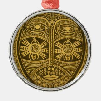 Ornate, unique, detailed, artsy, tribal mask metal ornament