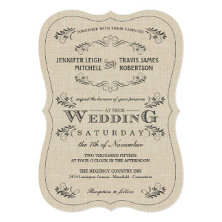 Ornate Vintage Flourish Burlap Wedding Invitations