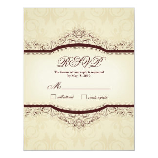 Ornate Vintage RSVP Cards 11 Cm X 14 Cm Invitation Card