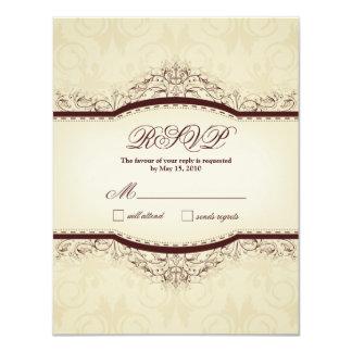 Ornate Vintage RSVP Cards 11 Cm X 14 Cm Invitation Card