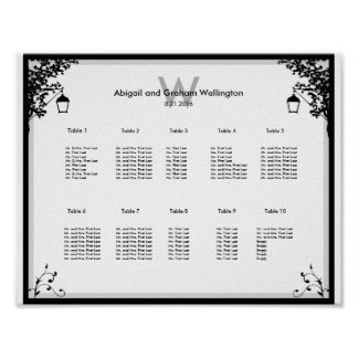 Ornate Wedding Seating Chart Poster