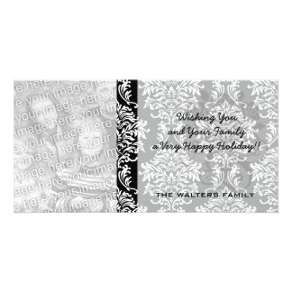 ornate white and black damask classic personalized photo card
