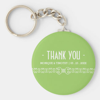 Ornate White Belt -Spring Green Wedding Thank You Basic Round Button Key Ring