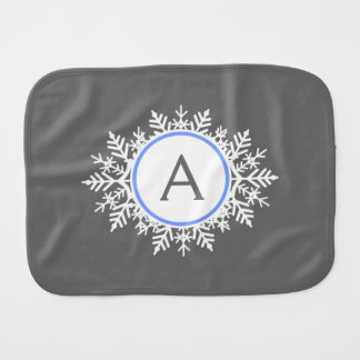 Ornate White Bright Blue Snowflake Monogram Gray Burp Cloth
