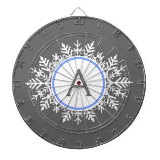 Ornate White Bright Blue Snowflake Monogram Gray Dartboard
