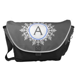 Ornate White Bright Blue Snowflake Monogram Gray Courier Bag
