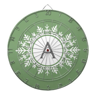 Ornate White Snowflake Circle Monogram Sage Green Dart Board