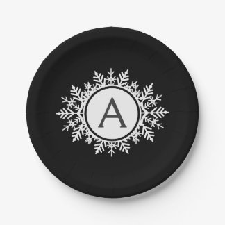 Ornate White Snowflake Monogram on Black Paper Plate