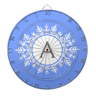 Ornate White Snowflake Monogram on Bright Blue Dart Boards