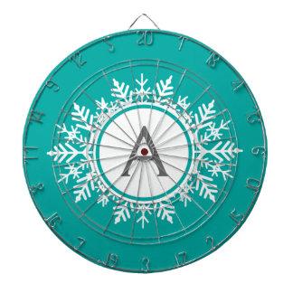 Ornate White Snowflake Monogram on Bright Teal Dartboard