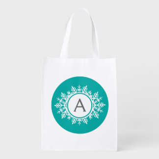Ornate White Snowflake Monogram on Bright Teal Reusable Grocery Bags