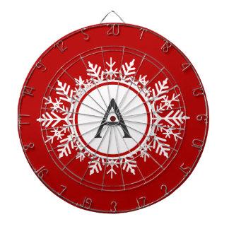 Ornate White Snowflake Monogram on Festive Red Dartboard With Darts