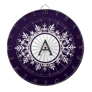 Ornate White Snowflake Monogram on Purple Dartboard With Darts