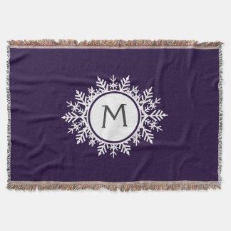 Ornate White Snowflake Monogram on Purple Throw Blanket