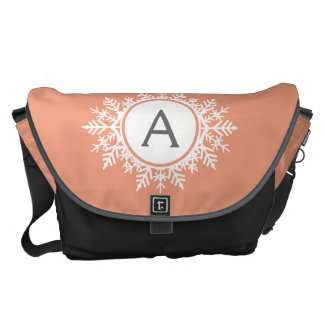 Ornate White Snowflake Monogram on Soft Coral Pink Courier Bag