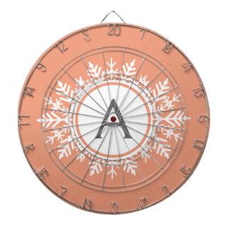 Ornate White Snowflake Monogram on Soft Coral Pink Dart Boards