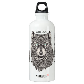 Ornate Wolf Head Illustration Water Bottle