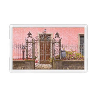 ORNATE WROUGHT-IRON FENCE FRONTS EUROPEAN ARCHITEC ACRYLIC TRAY