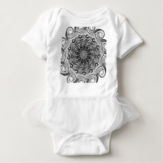 Ornate Zen Doodle Optical Illusion Black and White Baby Bodysuit