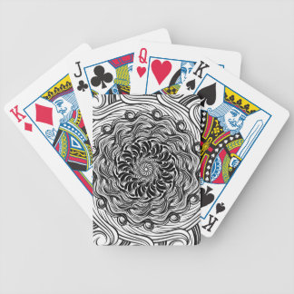 Ornate Zen Doodle Optical Illusion Black and White Bicycle Playing Cards