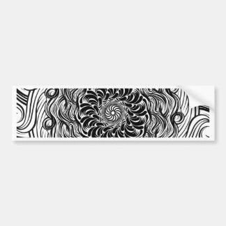Ornate Zen Doodle Optical Illusion Black and White Bumper Sticker