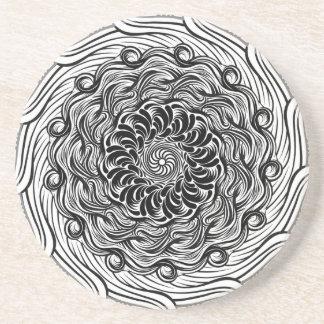 Ornate Zen Doodle Optical Illusion Black and White Coaster