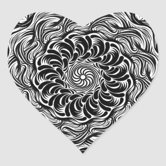 Ornate Zen Doodle Optical Illusion Black and White Heart Sticker